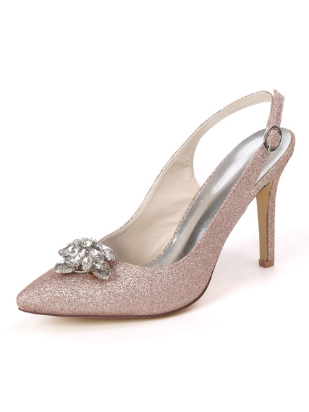 Milanoo Women\'s High Heel Party Shoes White Pointed Toe Rhinestones Evening Shoes