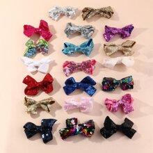 20 piezas horquilla de niñitas con diseño de lazo de color al azar