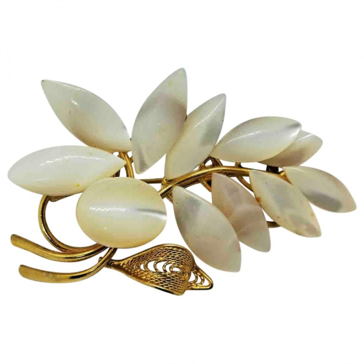 Broche Motifs Floraux en Metal Blanco Non Signe / Unsigned