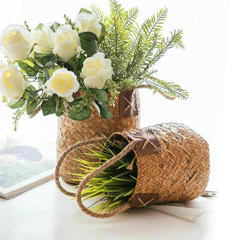 Seagrass Woven Flower Basket Storage Basket Desktop Decoration Flower Arrangement Bucket Sundries Basket Hand Woven Roun
