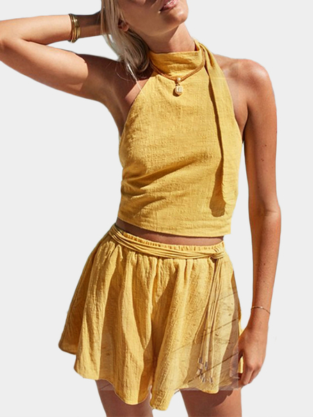 Yoins Yellow Sexy Cropped Top & High Waist Skort Co-ord