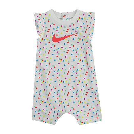 Nike Baby Girls Short Sleeve Romper, 6 Months , White