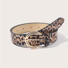 Leopard Print Metal Buckle Belt