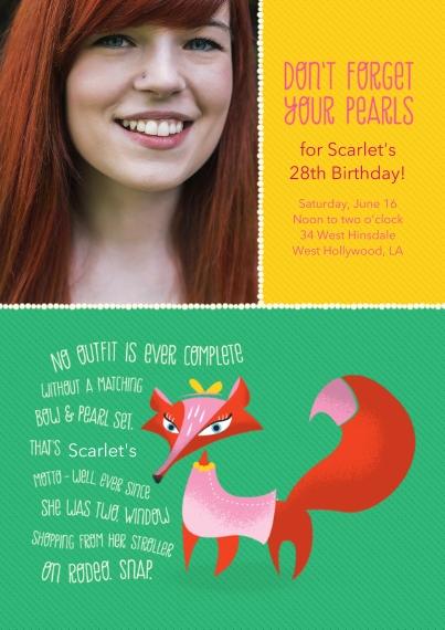 Birthday Party Invites 5x7 Cards, Premium Cardstock 120lb, Card & Stationery -Animal Personality Birthday Fox