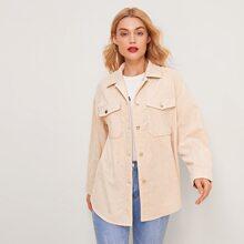 Kord Mantel mit Taschen Klappe und gebogenem Saum