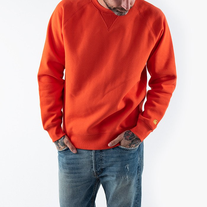 Carhartt WIP Chase Sweatshirt I026383 SAFETY ORANGE/GOLD