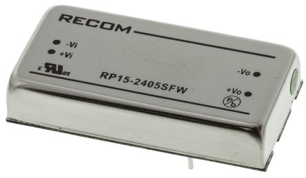 Recom RP15 FW 15W Isolated DC-DC Converter Through Hole, Voltage in 9 → 36 V dc, Voltage out 5V dc