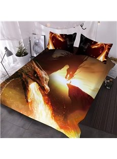 Fire Dragon 3D Warm Comforter 3-Piece Soft Comforter Sets with 2 Pillowcases