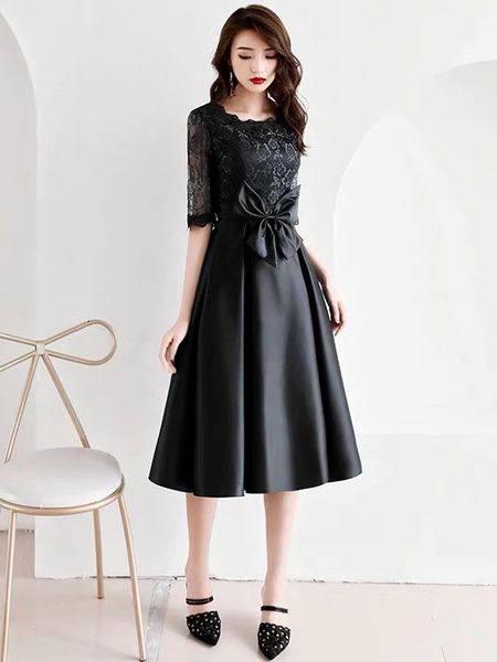Milanoo Cocktail Dresses Lace Satin Half Sleeve Bows Tea Length Formal Party Dress