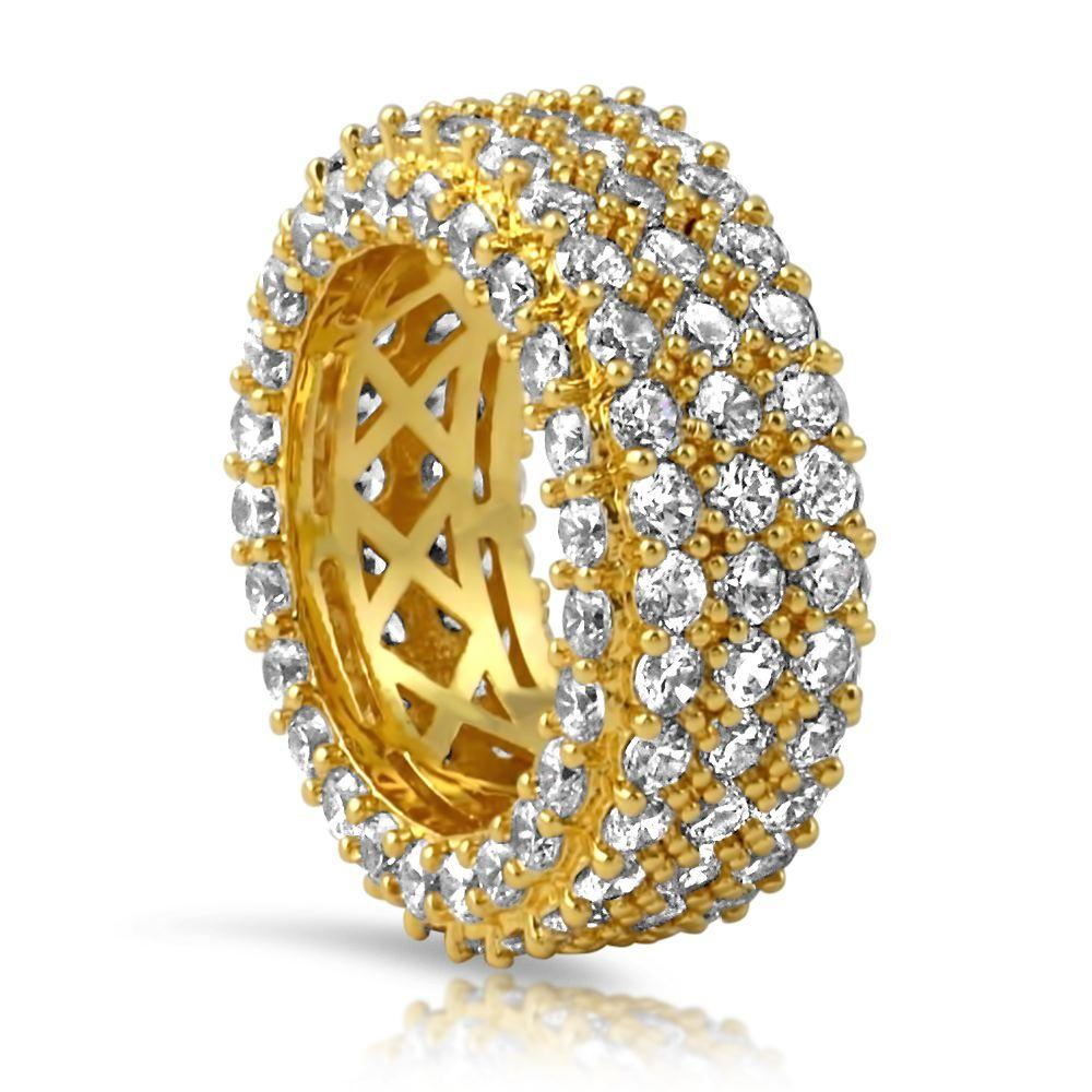 Triple Ice Decker 360 CZ Eternity Hip Hop Ring Band in Gold