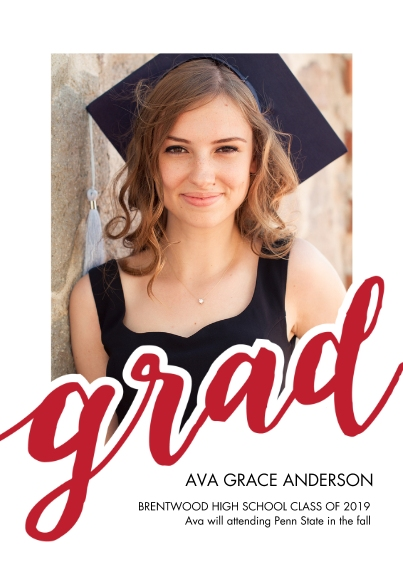 Graduation Invitations 5x7 Cards, Premium Cardstock 120lb with Rounded Corners, Card & Stationery -Grad 2019 Bold by Tumbalina