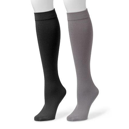 MUK LUKS 2-pk. Fleece-Lined Knee High Socks, Small-medium , Gray