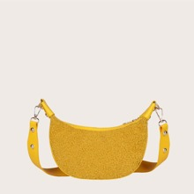 Contrast Faux Fur Crossbody Bag