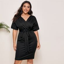 Plus Surplice Front Self Tie Fitted Dress