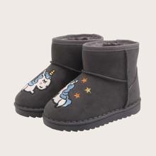 Jungen Stiefel mit Einhorn Stickereien