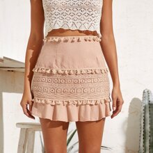 Contrast Lace Tassel Trim Skirt