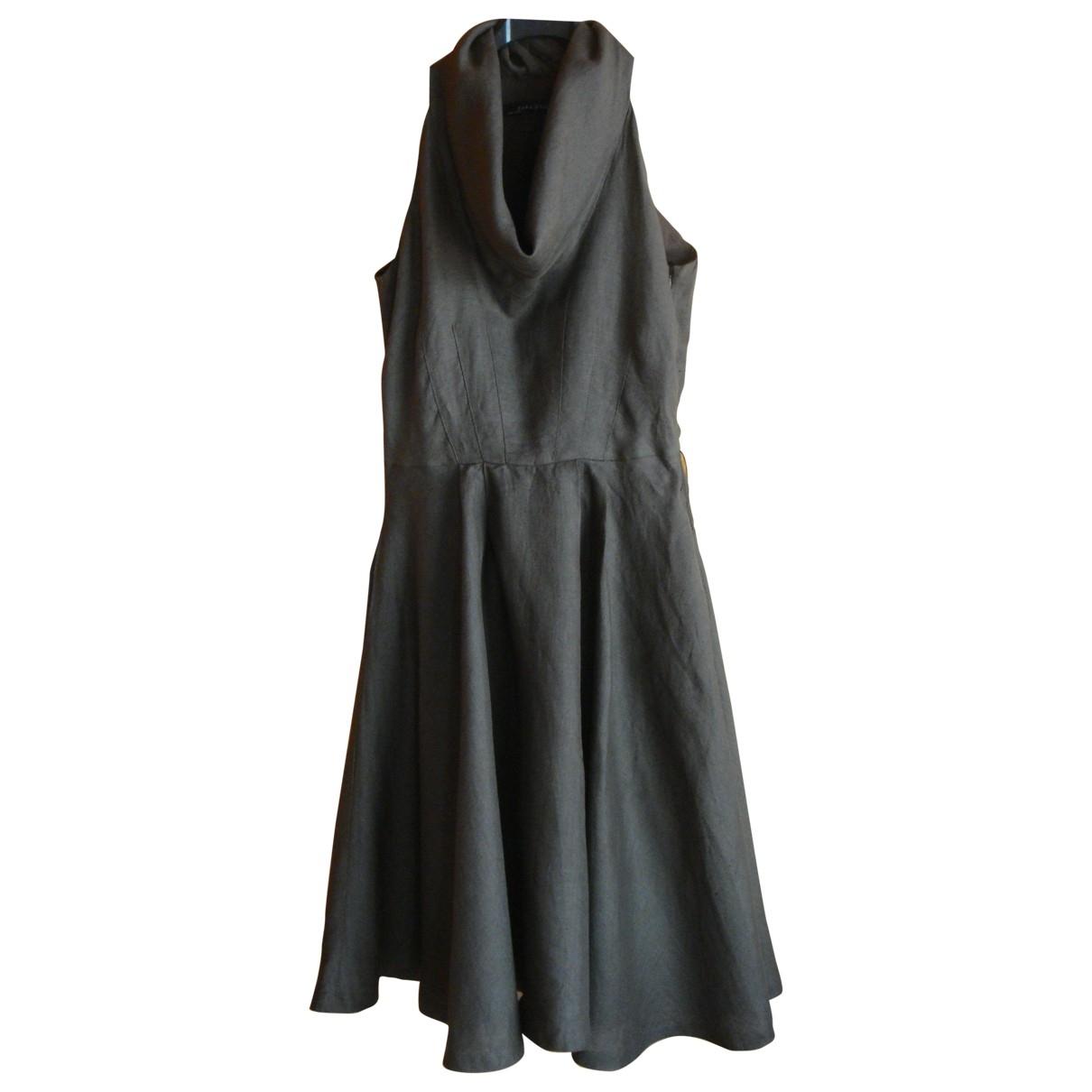 Zara \N Khaki Linen dress for Women XXXL International