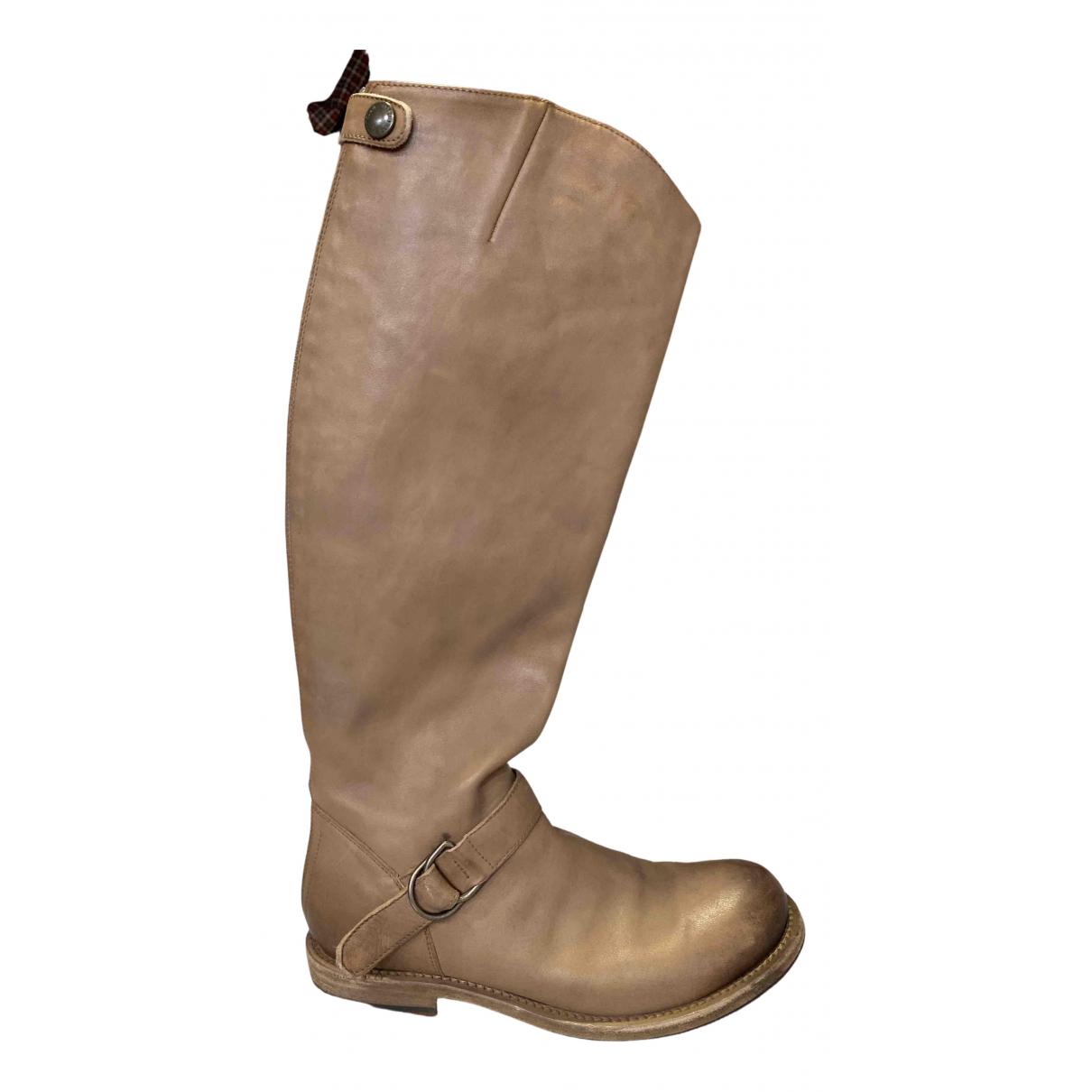 Brunello Cucinelli - Bottes   pour femme en cuir - beige