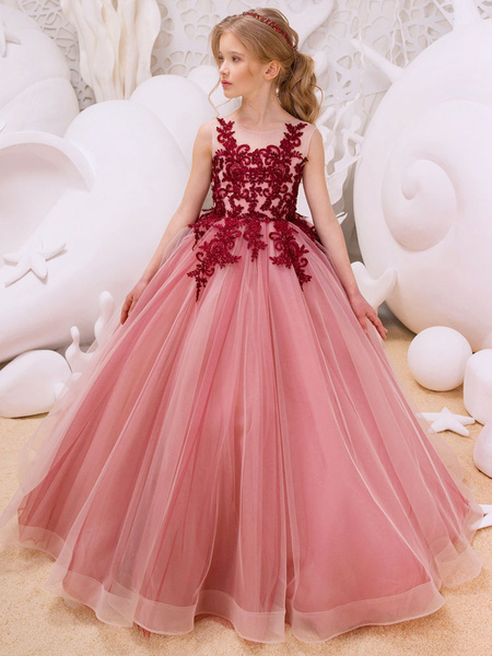 Milanoo Flower Girl Dresses Red Applique Princess Tulle Sleeveless Kids Pageant Party Dress