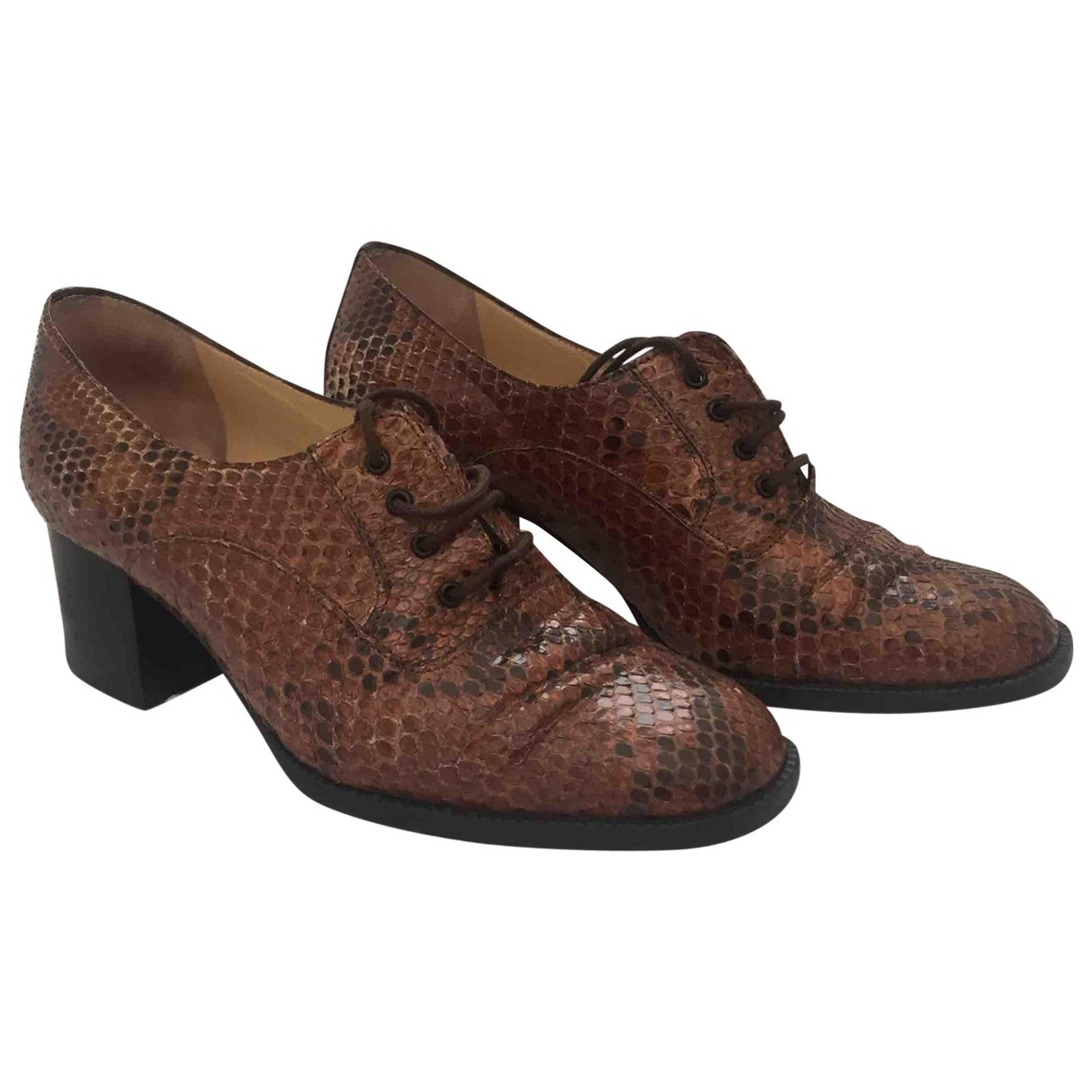 Non Signé / Unsigned \N Brown Python Lace ups for Women 35 IT
