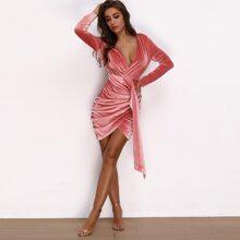 Plunging Neck Draped Ruched Velvet Dress