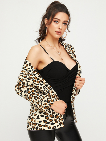 YOINS Beige Leopard Lapel Collar Long Sleeves Coat