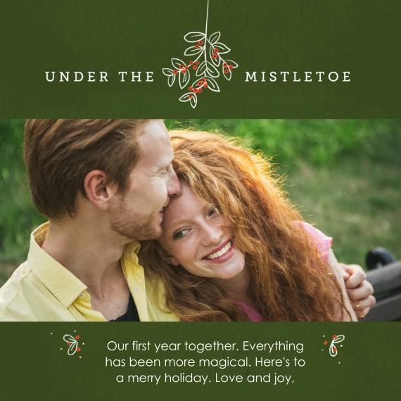 Christmas Photo Cards 5x5 Flat Card Set, 85lb, Card & Stationery -Under the Mistletoe