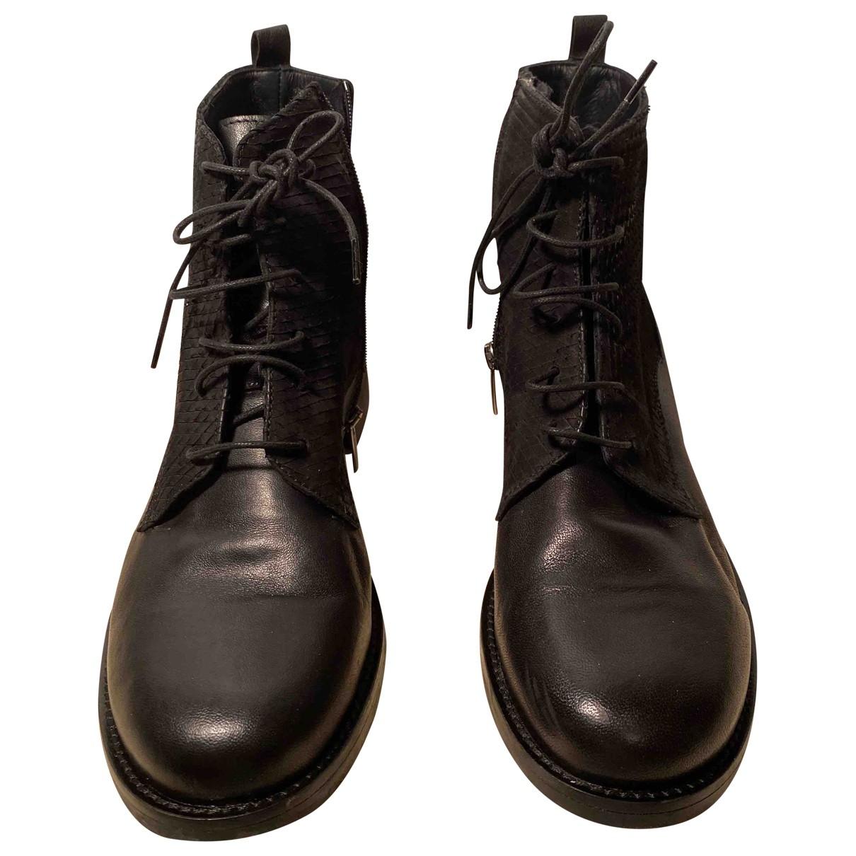 Mat20 - Boots   pour femme en cuir - noir