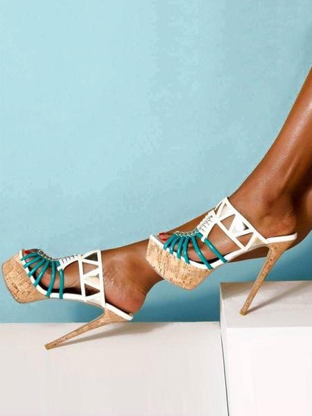 Milanoo High Heel Sandals White Platform Open Toe Cut Out Sandal Slippers Women Sexy Shoes