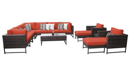 Barcelona BARCELONA-13a-BRN-TANGERINE 13-Piece Patio Set 13a with 3 Corner Chairs  2 Club Chairs  4 Armless Chairs  1 Coffee Table  2 Ottomans and 1