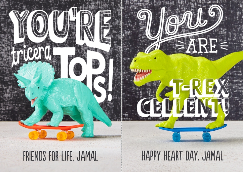 Valentine's Cards Mail-for-Me Premium 5x7 Flat Card, Card & Stationery -Punny Dinosaur Cut-Apart by Hallmark