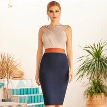 Adyce vestido de vendaje de color combinado
