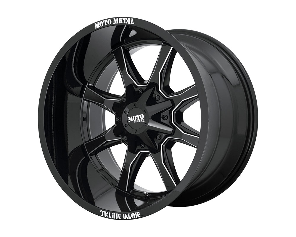 Moto Metal MO970212673B44N MO970 Wheel 20x12 6x6x135/6x139.7 -44mm Gloss Black w/Milled Spoke & Moto Metal MO970212673B44N On Lip