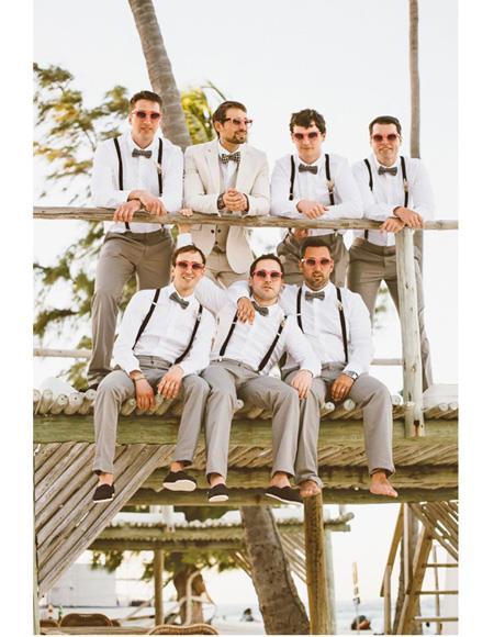 Mens Beach Wedding Attire Suit Menswear Off-White