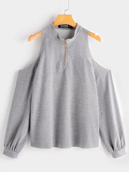 Yoins Grey Cold Shoulder Zipper Front Sweatshirts
