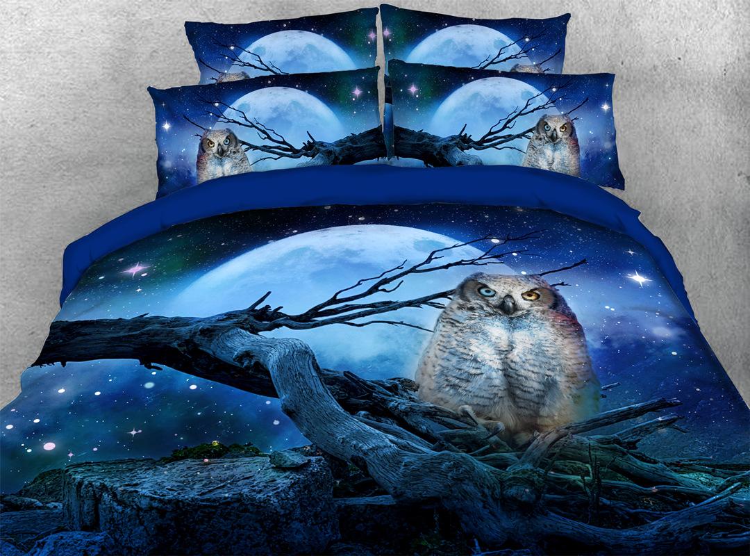 3D Owl Navy Blue 5-Piece Animal Comforter Set Zipper Ties Colorfast/Wear-resistant/Skin-friendly Bedding Sets