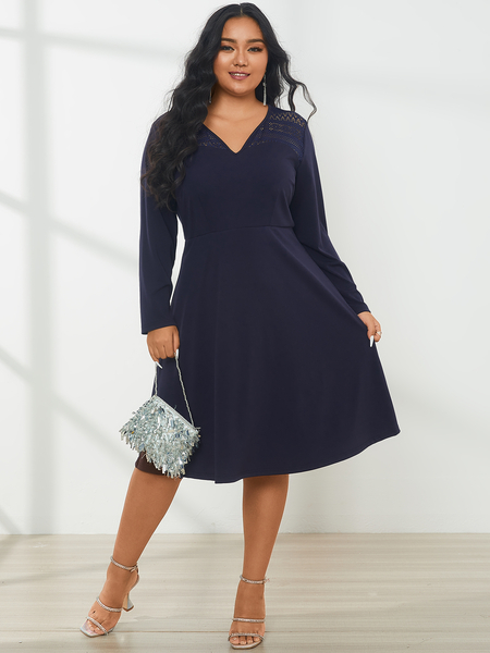 YOINS Plus Size V-neck Hollow Design Long Sleeves Midi Dress