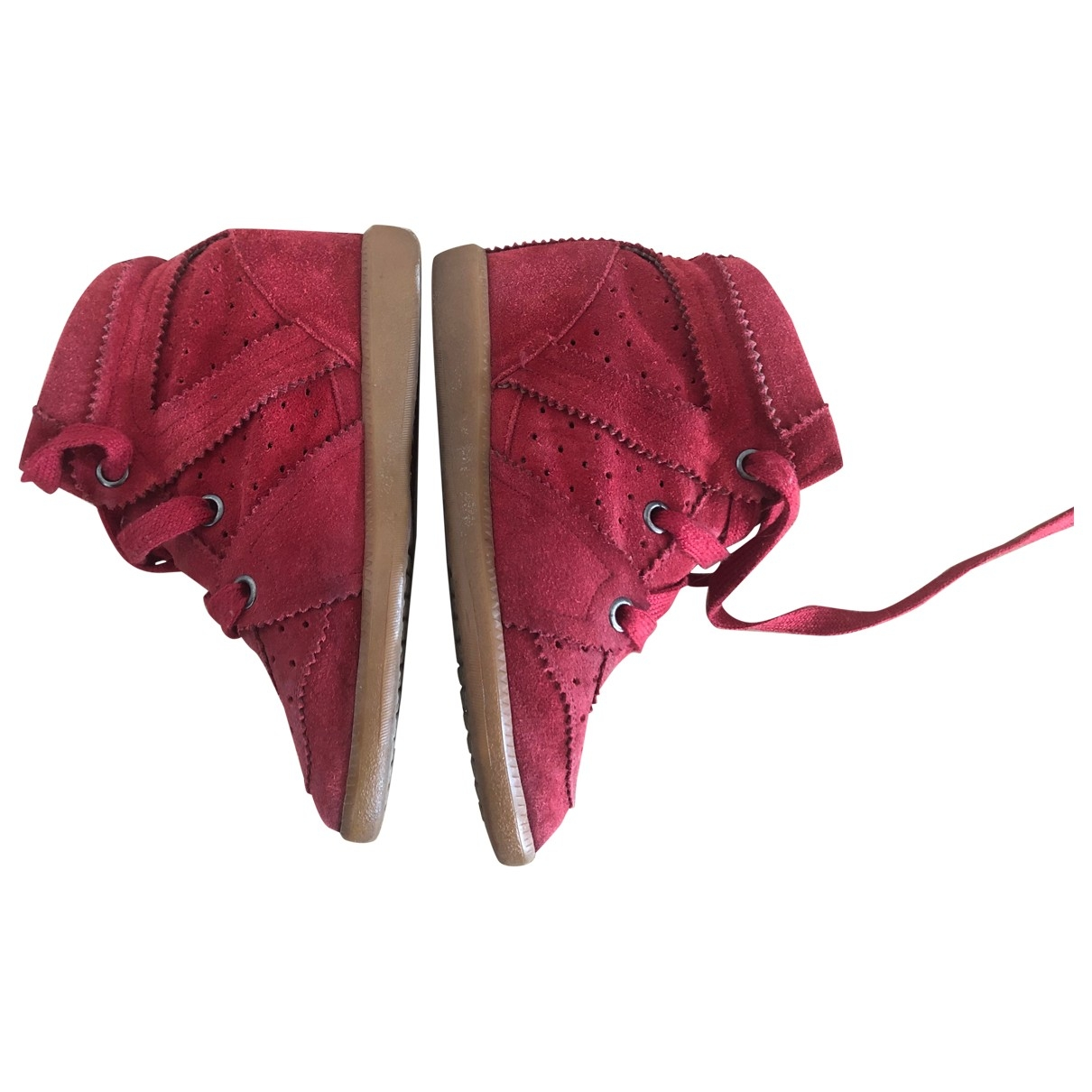 Isabel Marant Betty Red Suede Trainers for Women 36 EU