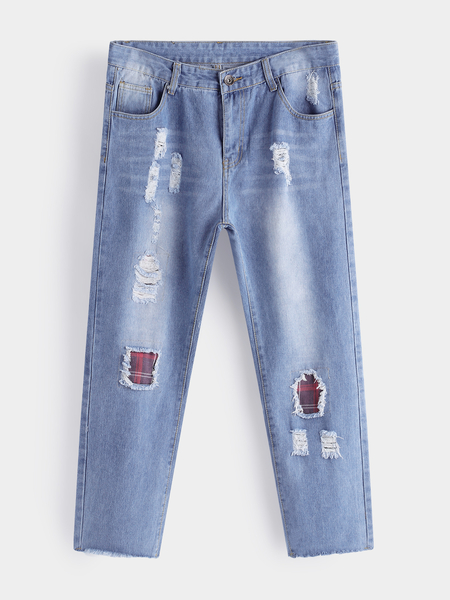 Yoins Light Blue Patch Ripped Acid Wash Middle Waist Men's Cropped Jeans