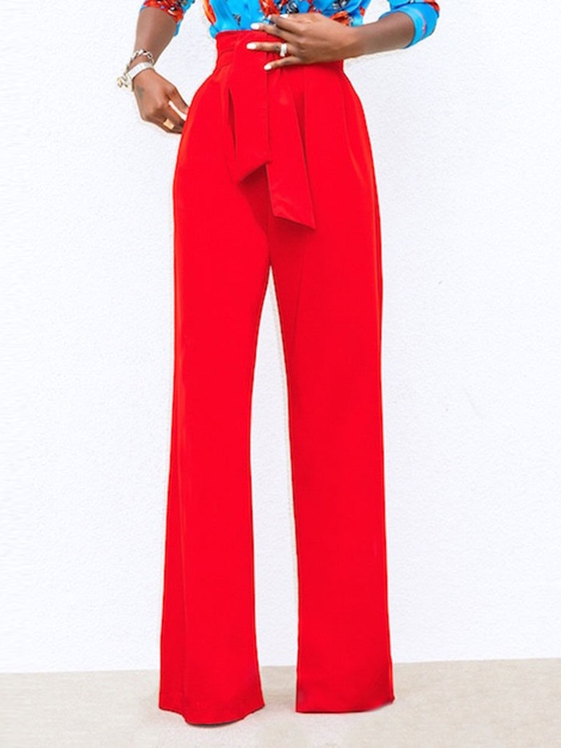 Ericdress Loose Lace-Up Pocket Plain Wide Legs Casual Pants