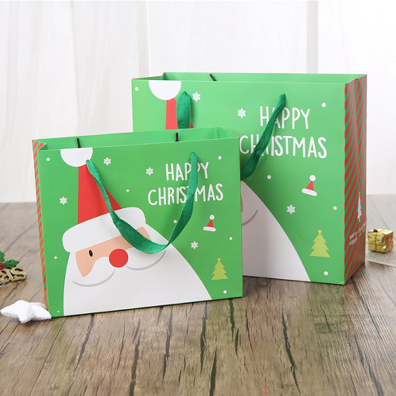 Christmas Santa Claus 2 Size and 2 Color Hand-held Paper Gift Bag