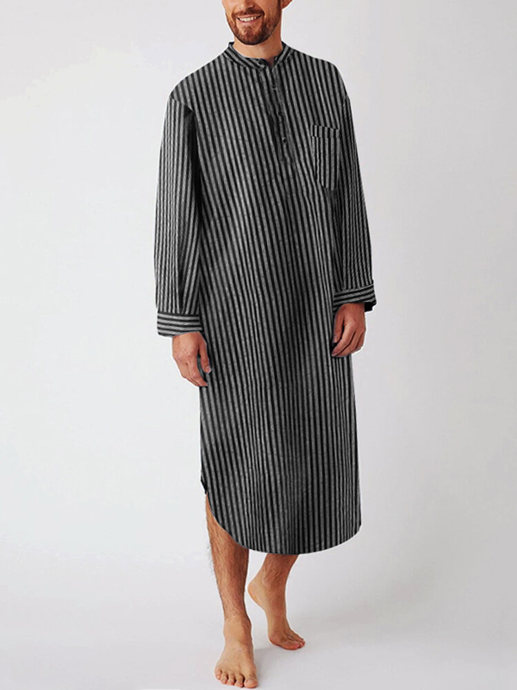 Cotton Breathable Pure Classic Striped Calf-Length Loungewear Robe With Chest Pockets