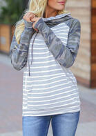 Striped Camouflage Drawstring Kangaroo Pocket Thumbhole Hoodie