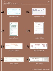 50sheets Tickets Design Material Paper