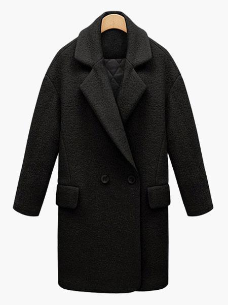 Milanoo Notch Collar Buttons Pockets Elegant Coat For Woman