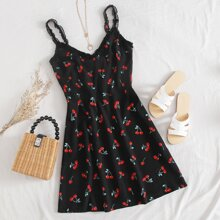 Frill Trim Cherry Print Cami Dress