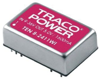 TRACOPOWER TEN 8WI 8W Isolated DC-DC Converter Through Hole, Voltage in 43 → 160 V dc, Voltage out 3.3V dc
