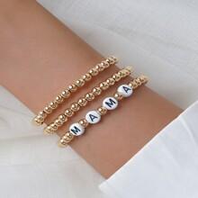 3 Stuecke metallisches Armband mit Perlen Dekor