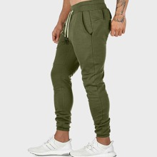 Men Drawstring Waist Solid Sweatpants