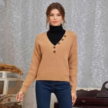 Einfarbiger Rippenstrick Pullover mit Knopfen